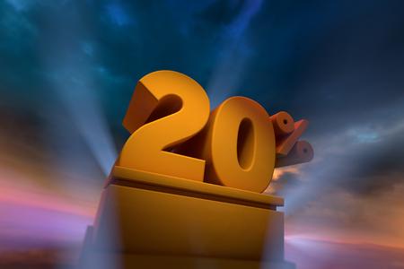 3D-weergave van goud 20 procent tekst op het podium met dramatische hemel Stockfoto