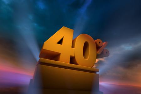 Het 3D teruggeven van gouden 40 Percententekst op podium met dramatische hemel