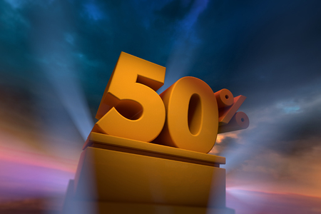 3D rendering of gold 50 Percent text on podium with dramatic sky Stock Photo