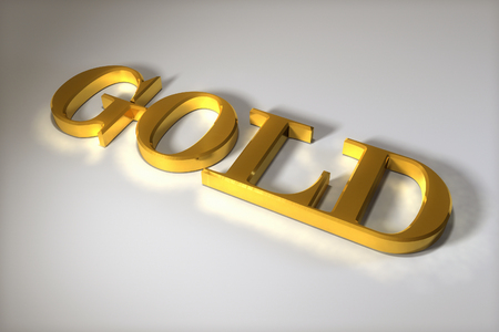 Word GOLD in gold. Generated in 3D program Stock Photo