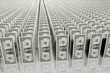 3D generated image. Army of $1 bills