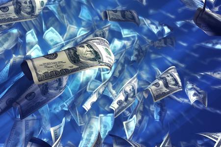 verdrinking geld concept. Computer gegenereerde afbeelding simuleert zinkend geld.