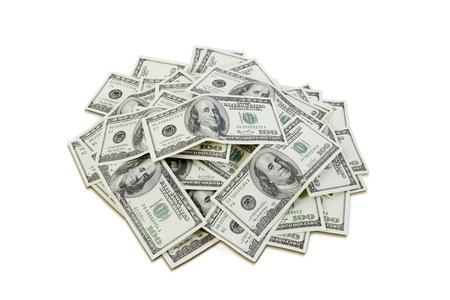 Grote hoeveelheid honderd-dollarbiljetten. Afbeelding bevat werkpad voor eenvoudig knippen. Stockfoto