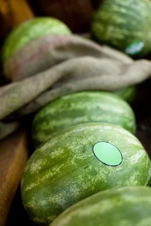 Whole Watermelon at Farmers Market Stock Photo