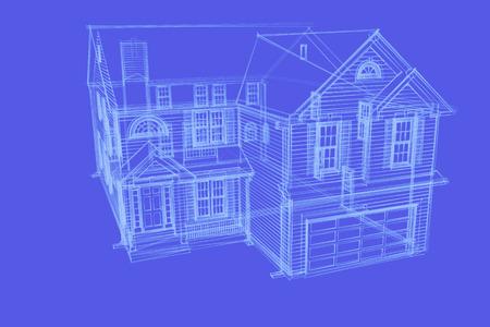 blauwe inkt huis schets Stockfoto