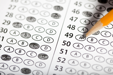 Close Up of multiple choice exam.