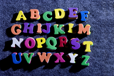 Bubbly colorful alphabet letters, A trough Z.