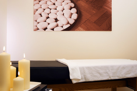 Relaxing spa room. Artwork on the wall is from contributor artist collection