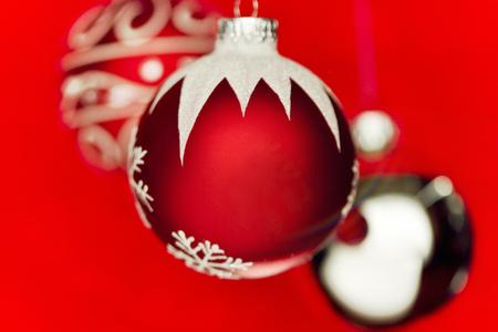 Christmas tree ornaments. Plenty of copy space on the ornament. Stock Photo