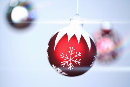 Holiday ornaments with light glare Stock Photo