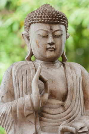 Detail stock photo of a wooden Buddha statue in a garden, Reklamní fotografie - 107268140