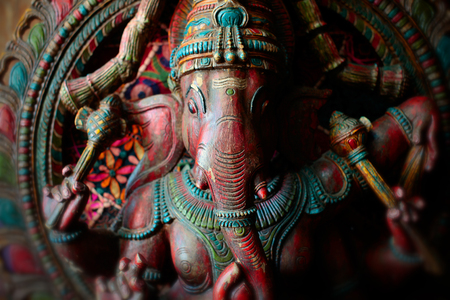Detail of an old Ganesh sculpture. Stock Photo