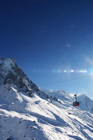 a passenger lift going up to Aiguille du Midi