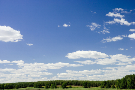 Country side view, with big sky and a forest. Taken in Sweden