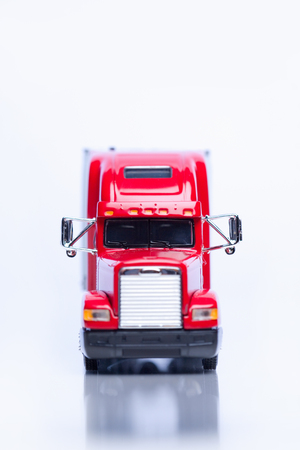 Front view of a miniature semi-truck. 스톡 콘텐츠
