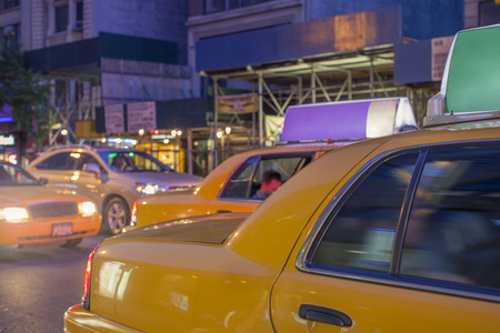 Detail of New York City streets with yellow cabs.