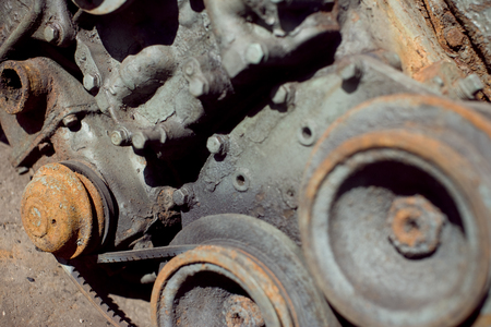 Detail of a rusty car engine