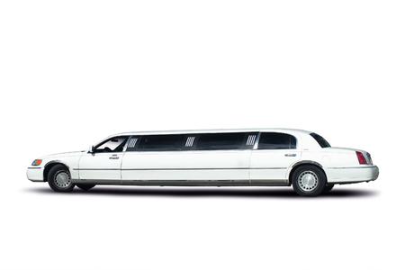Weiße Limousine mit Beschneidungspfad. Standard-Bild