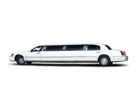 White limousine with a Clipping Path.