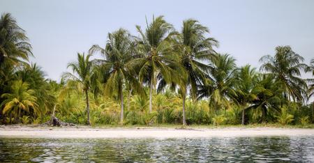 Deserted island coastline. View from boat. Фото со стока