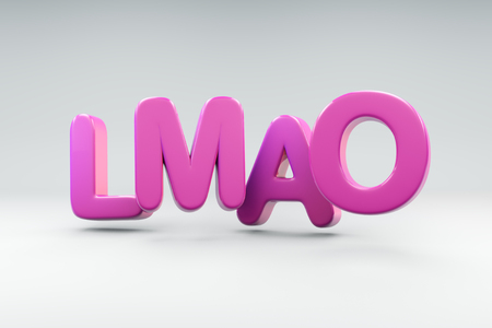 LMAO 3D render text graphic
