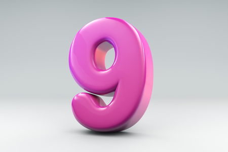 Bubble like pink number nine 3D rendering Фото со стока