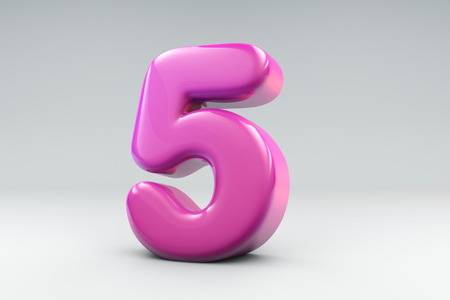 Balloon like 3d render of number five