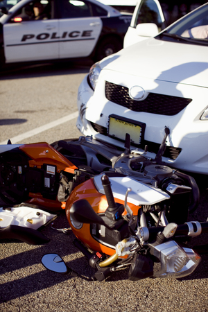 Detail of a motorcycle hit by a car. 写真素材