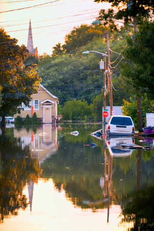 HDR of Flooded street.