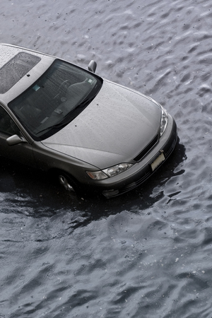 A car stuck in the flood.