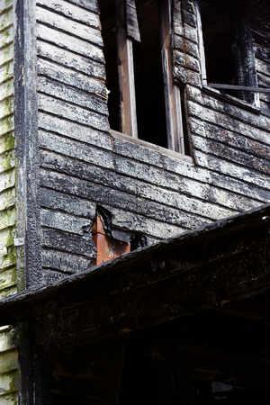 Detail of burnt home