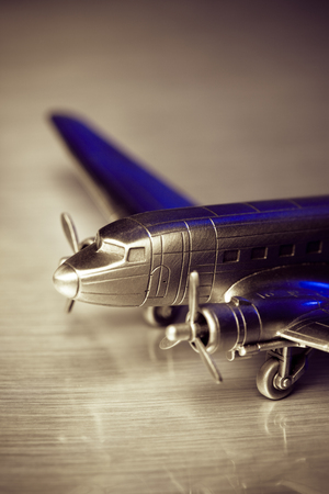 Detail of a metal model plane.