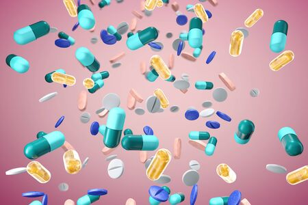 mid air assortment of pills and medications. 3D render with pink background. Фото со стока