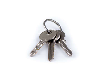 House keys on keyring isolated over white background photo