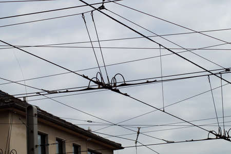 cabel: Electrical cabel over the street Stock Photo