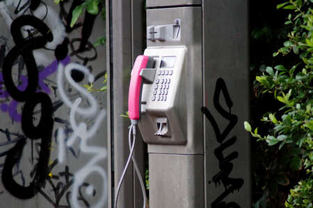 phonecall: Old telephone booth Stock Photo