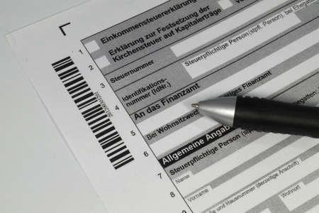 German tax return form Foto de archivo