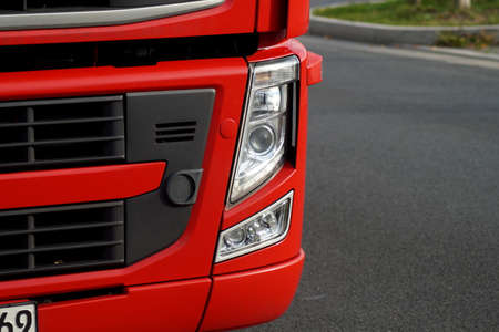 red truck: A red truck