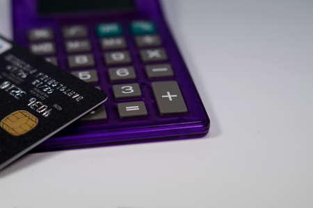 bankcard: Credit Card Calculator Stock Photo