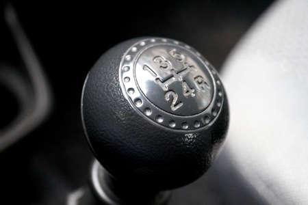 knob: Shift knob in the car Stock Photo