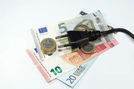electricity providers: Electricity costs money Stock Photo