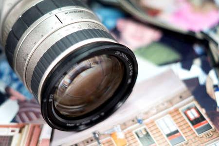 old photo: Old photo camera Stock Photo