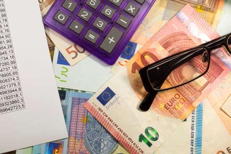 Statistics and money Foto de archivo