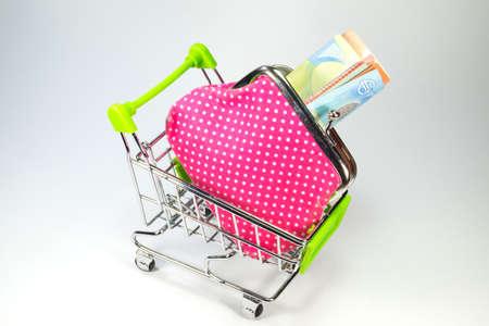 household money: Shopping cart and money Stock Photo