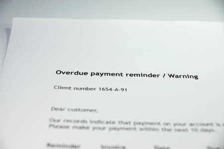 debt collection: overdue notice Stock Photo