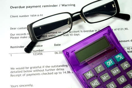 debt collection: Warning letter Because of unpaid bill Stock Photo