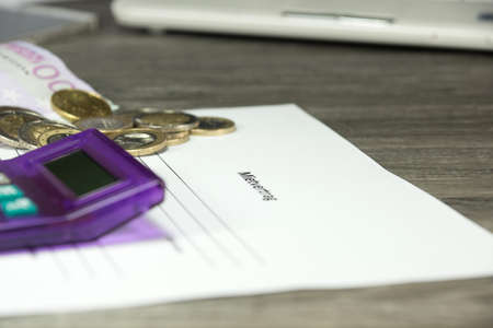 rental: rental agreement and money Stock Photo