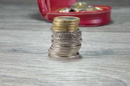 munten en portemonnee Stockfoto