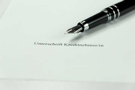 signature: Signature on a credit agreement