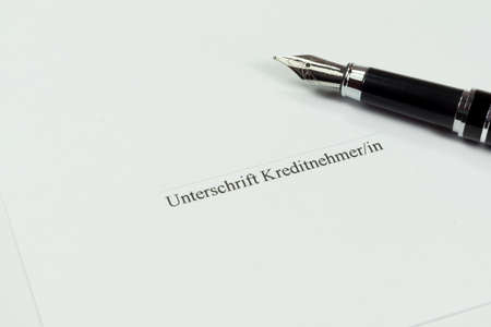 signature: Credit agreement, fountain pen and a signature